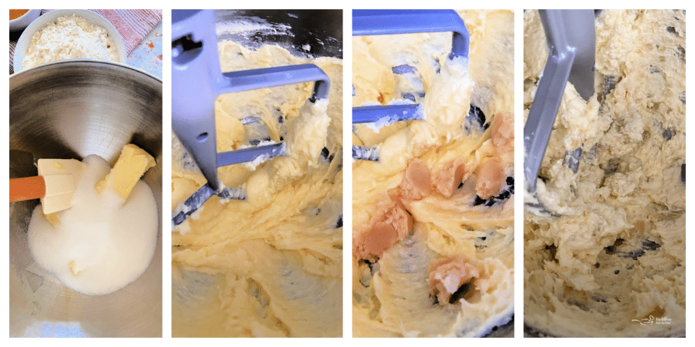 Butter, sugar, eggs, and almond paste being mixed together in bowl