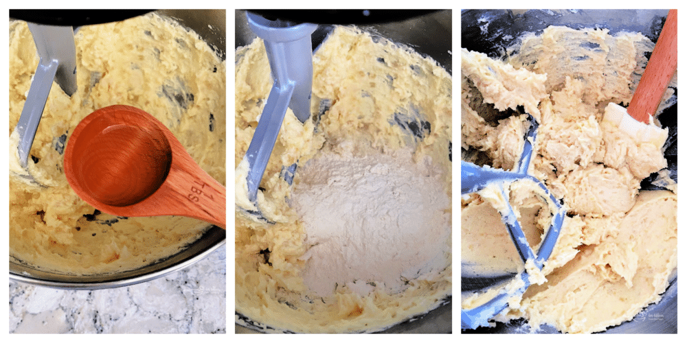 Almond extract and flour being added into sugar, eggs, and almond paste.