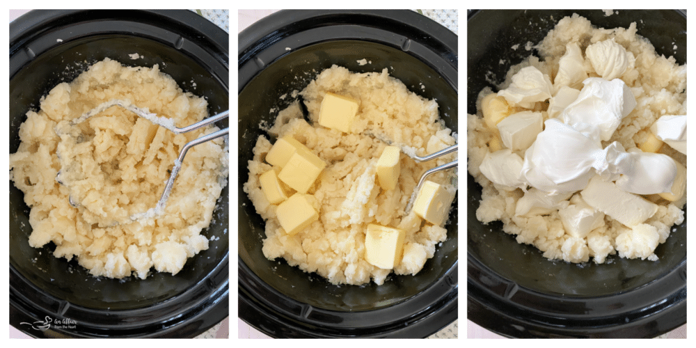 Potatoes being mashed with masher in Crokpot with sour cream and butter