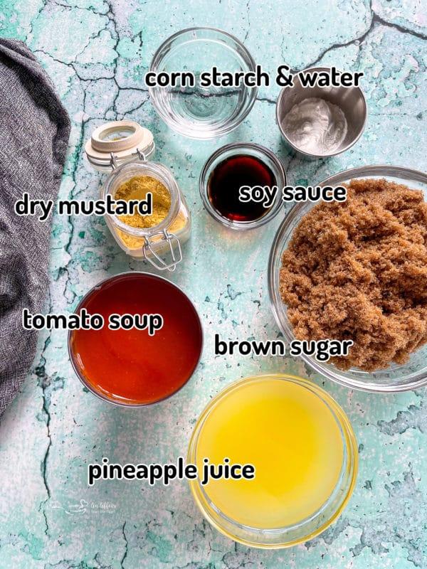Top view of sauce ingredients