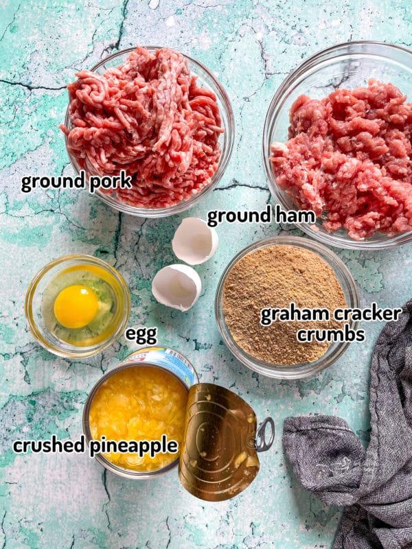 Top view of ingredients for Hawaiian ham balls