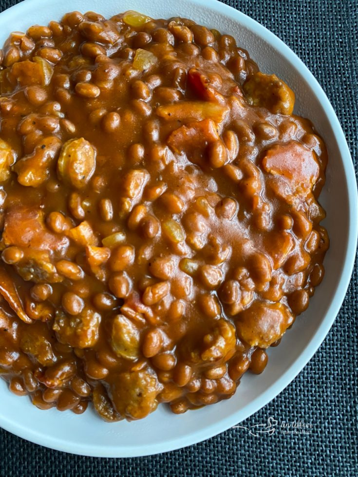 Meat Lovers Baked Beans white bowl