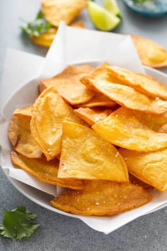 homemade tortilla chips on white paper towel