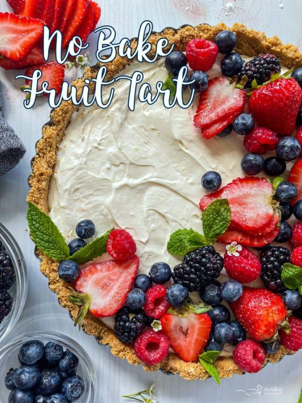 top view of no bake fruit tart with fresh fruit