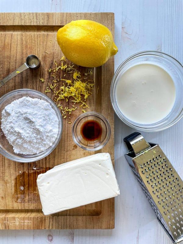 sugar, lemon, vanilla extract, cream cheese, cheese grater for no bake fruit tart
