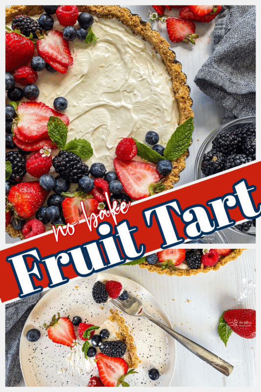 graphic for no bake fruit tart with berries