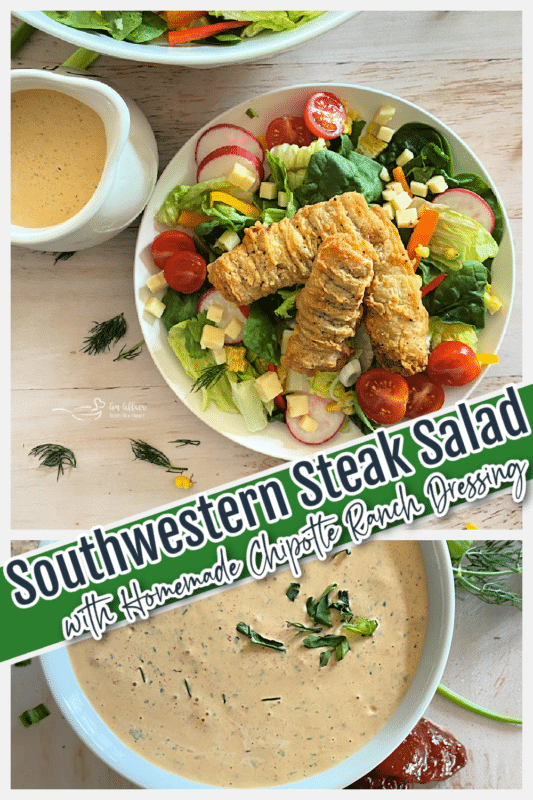 top view of southwestern steak salad with chipotle ranch dressing