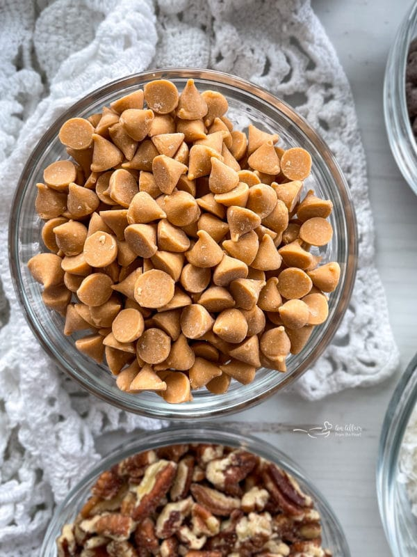 peanut butter chips in bowl