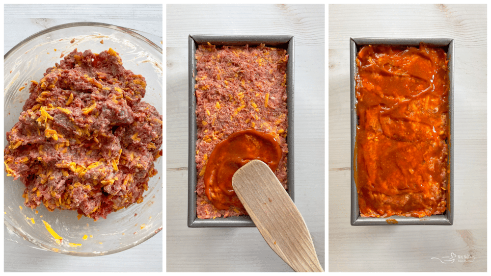 mixing meatloaf in bowl and transferring to baking dish and topping with ketchup and mustard sauce