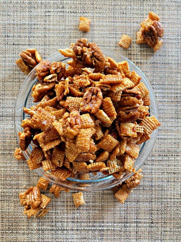 bowl of caramel pecan clusters