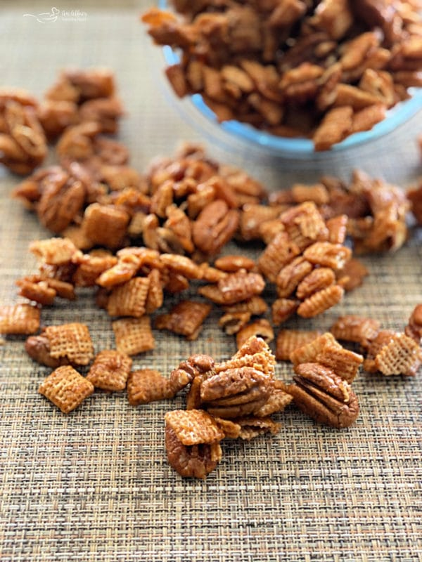 front view of caramel pecan clusters on surface