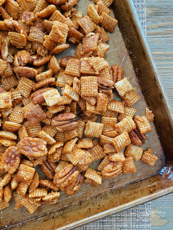 top view of praline Chex Mix