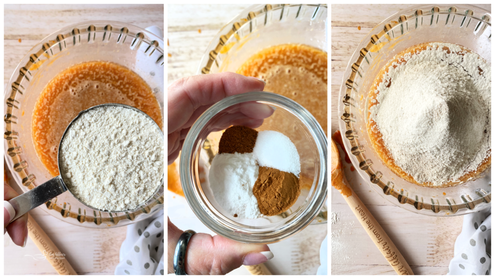 steps of making carrot cake and adding flour into batter