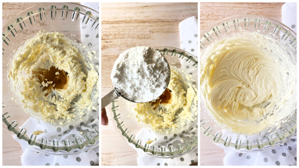 creaming the cream cheese and butter with vanilla and sugar