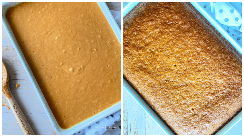 pouring cake batter in pan and then baked carrot cake