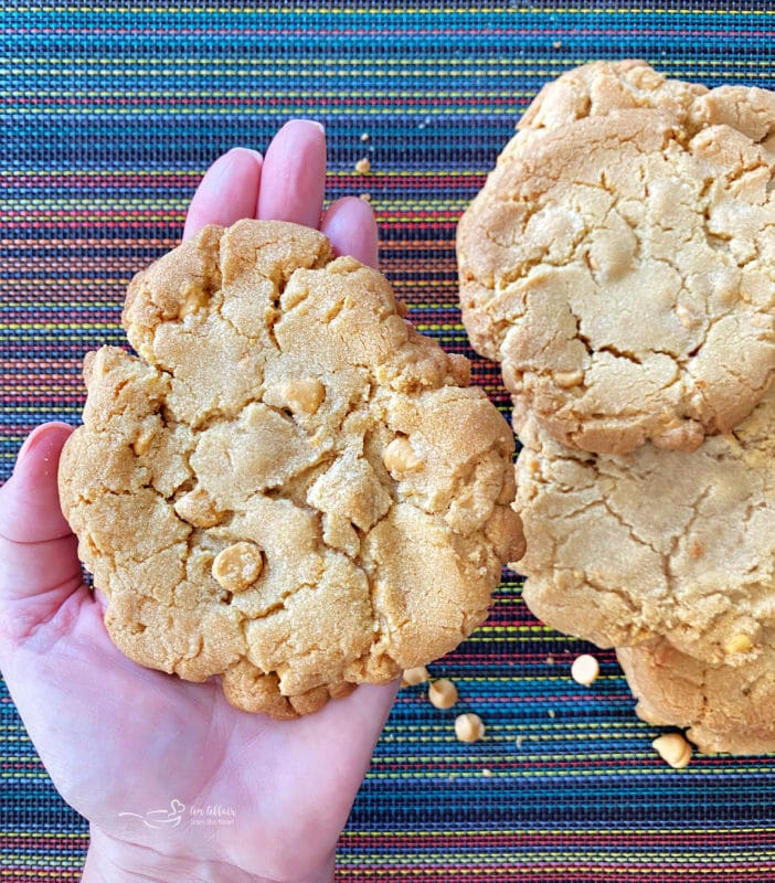 one handing holding butterscotch cookie