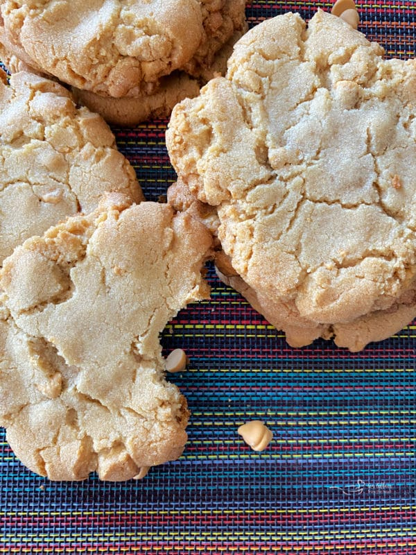 close view of giant butterscotch cookies