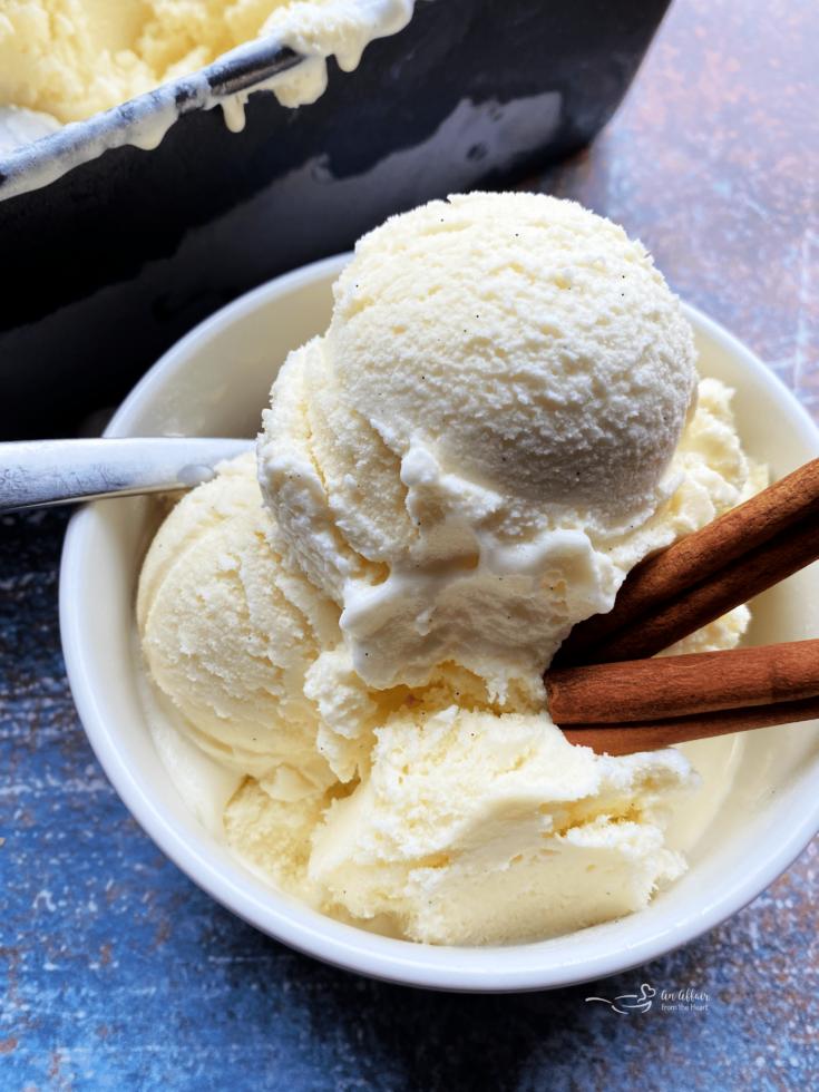 Homemade Cinnamon Vanilla Ice Cream in bowl with cinnamon sticks