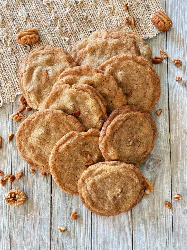 top view of pecan butter cookies with pecans