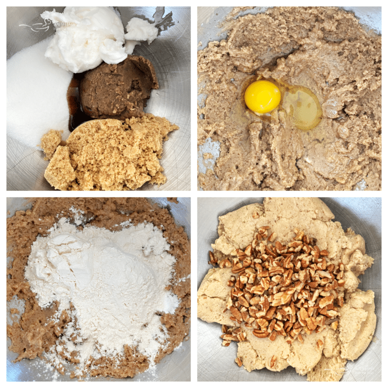 combing sugars with shortening, eggs with flour, dry ingredients with wet ingredients, and adding the pecans