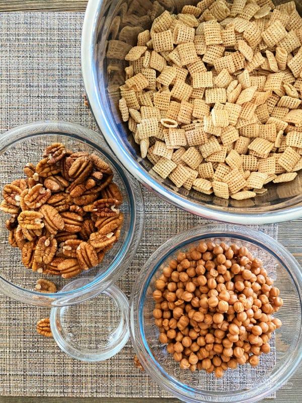 pecans, Chex Mix, caramel bits