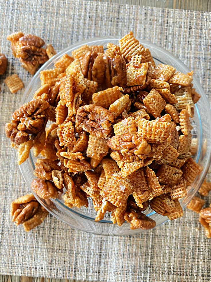 Caramel Pecan Clusters in a clear bowl