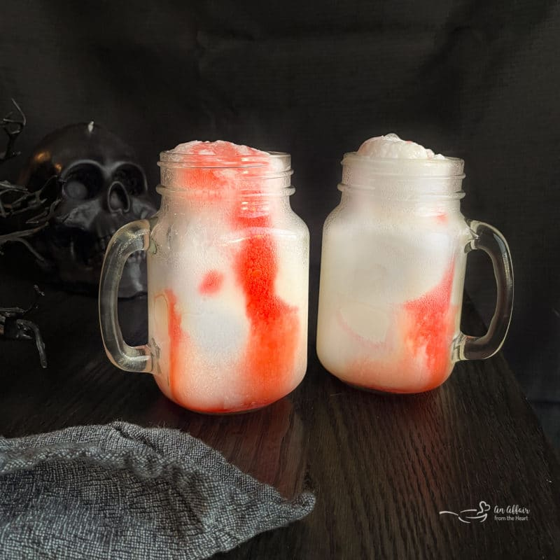 Adding grenadine makes it a bloody halloween cocktail