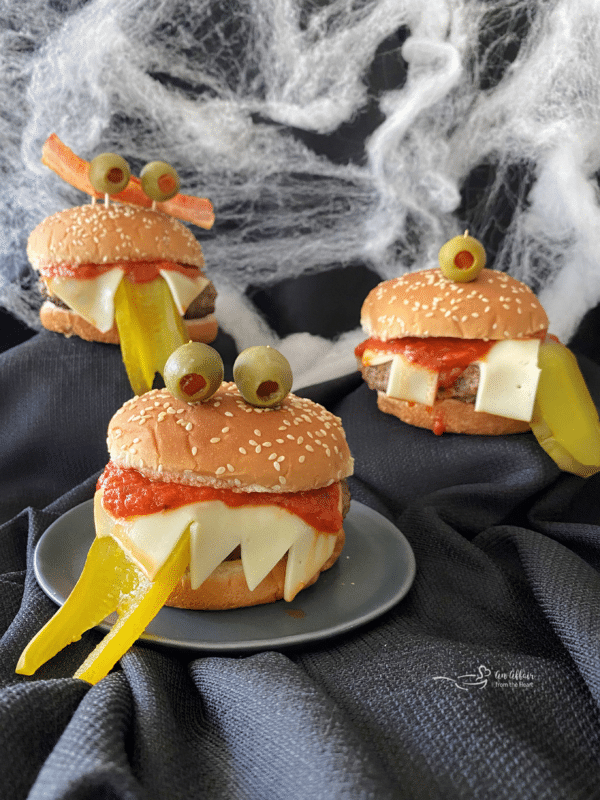 Monster Burgers for Halloween - 3 burgers with black and webbed background