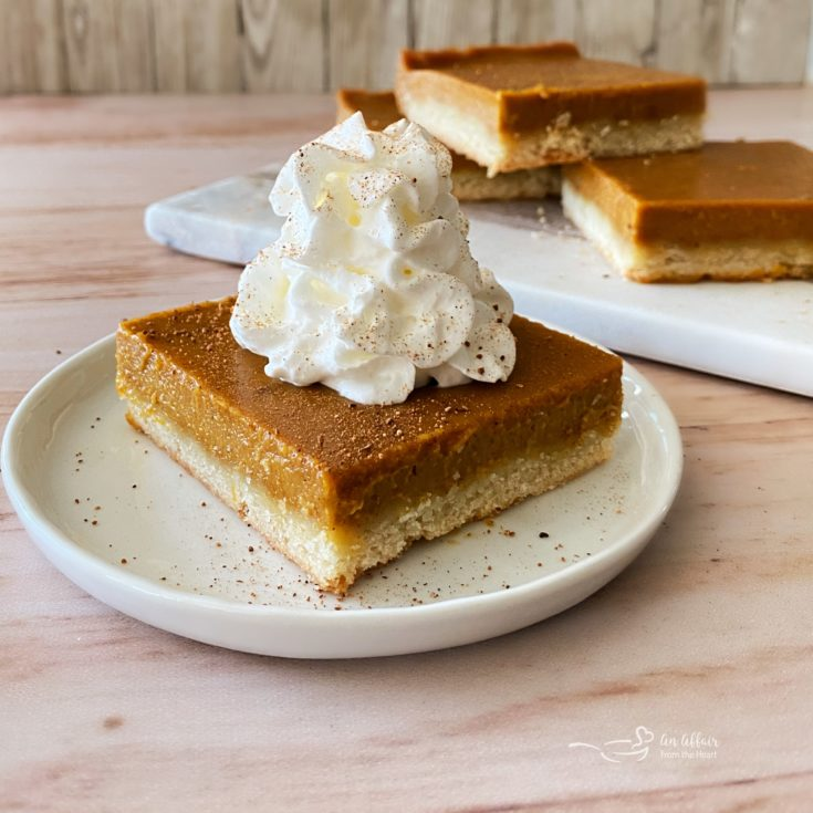 Pumpkin Pie Bars with Shortbread Crust close up with whipped cream